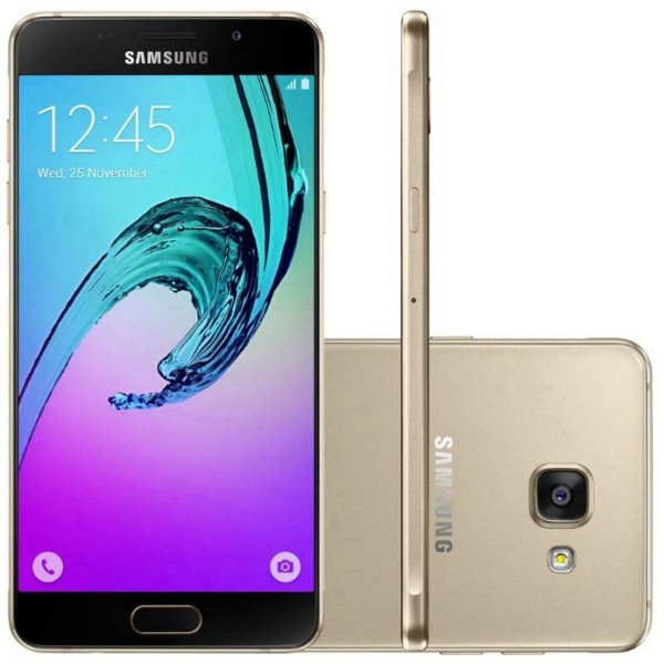 """Smartphone Samsung Galaxy A7 SM-A7100 16GB LTE Dual Sim Tela 5.5""""FHD Câm.13MP+5MP- Dourado"""