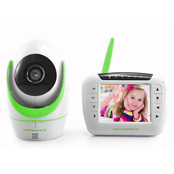 """Babá Eletrônica Powerpack MT-V388 3.5"""" Câmera Branco/Verde"""