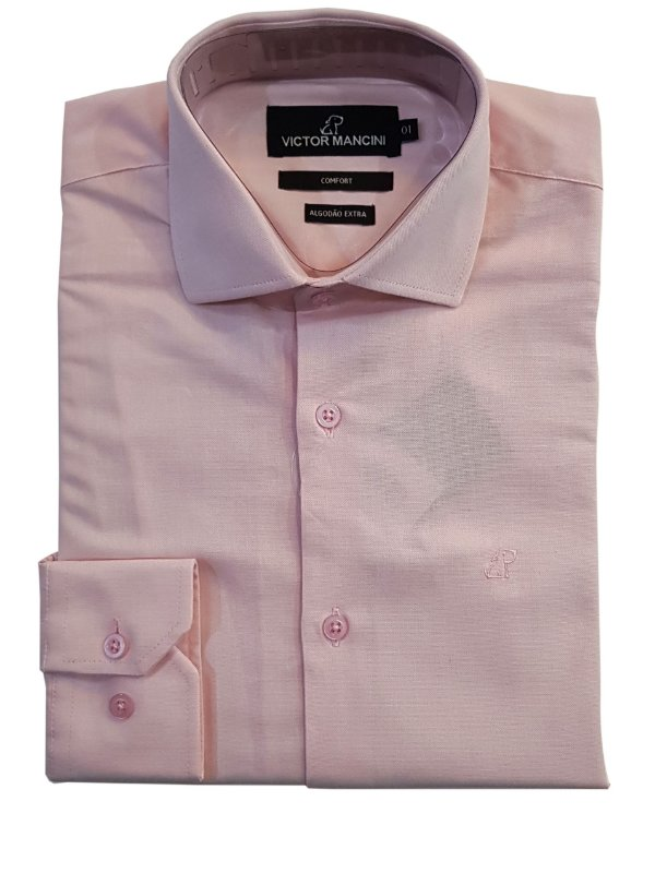 Camisa manga longa masculina fio 50 rosa
