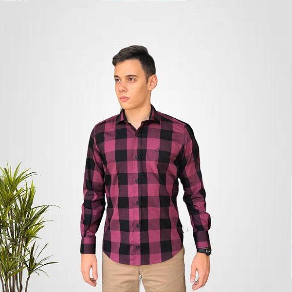 Camisa Social Xadrez Bordo