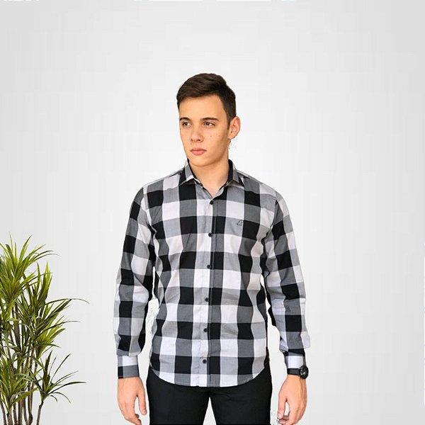Camisa Social Xadrez Preto