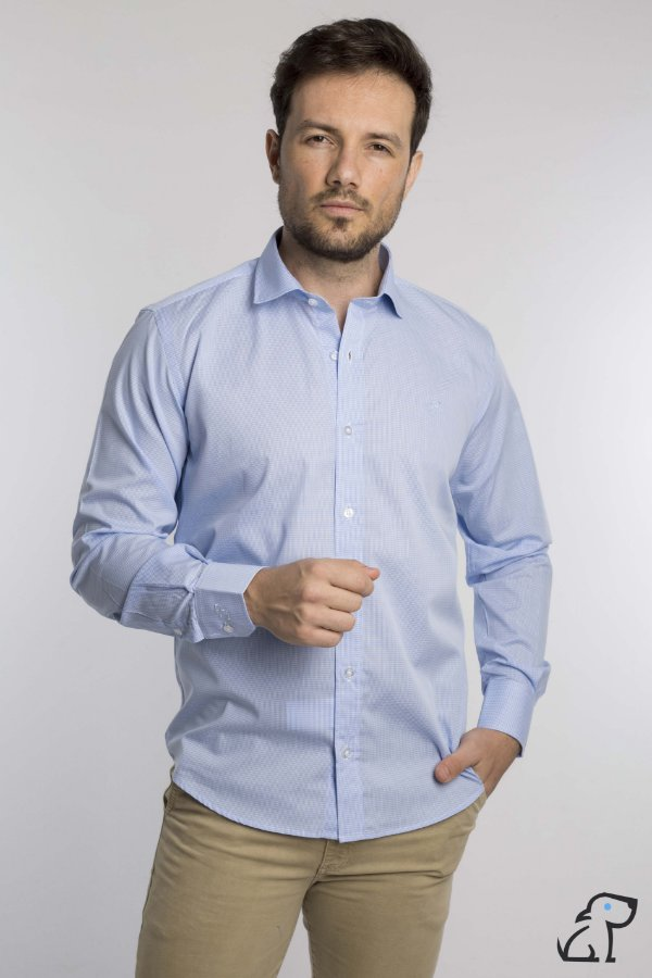 Camisa Manga Longa Slim Xadrez Vichy