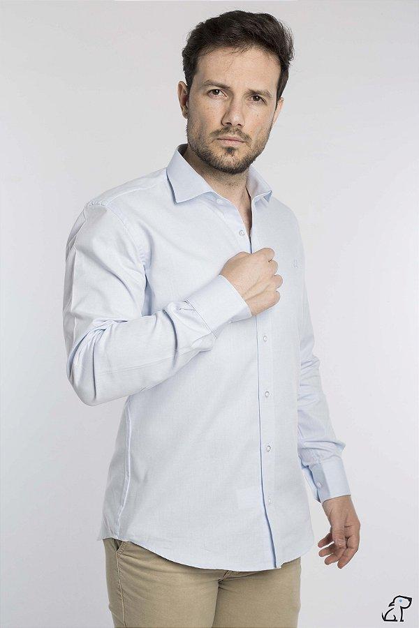 Camisa Slim Fio 50 Azul Claro Manga Longa