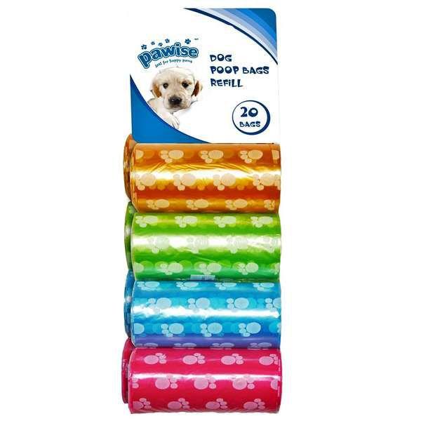 Saco Plástico Pawise Cata-Caca Cores Sortidas 60 Sacos