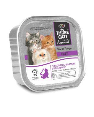 Ração Úmida para Gatos Three Cats Patê de Frango Filhotes 90g