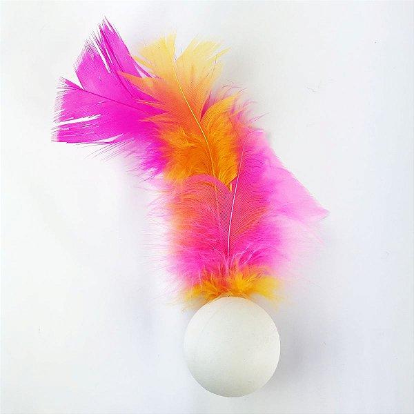 Brinquedo Para Gatos Ping Penas Amarelo e Rosa