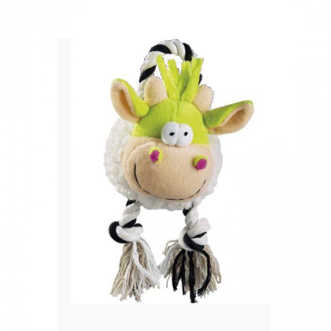 Brinquedo Para Cachorro Mordedor Pelúcia Vaquinha Moo Branca