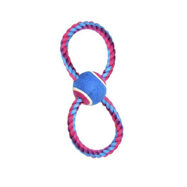 Brinquedo Para Cachorro Bola Tênis Com Corda 8 Rosa