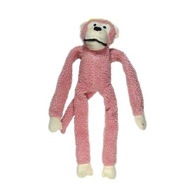 Brinquedo Para Cachorro Mordedor Pelúcia Macaco Rosa