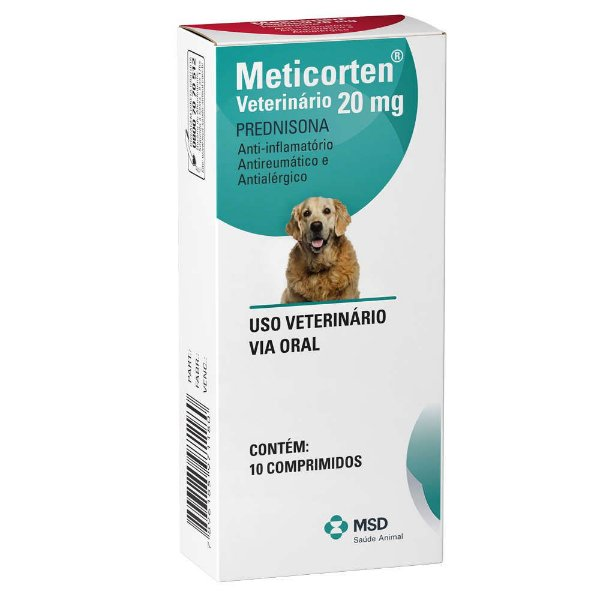 Anti-Inflamatório Para Cães e Gatos MSD Meticorten Vet 20mg