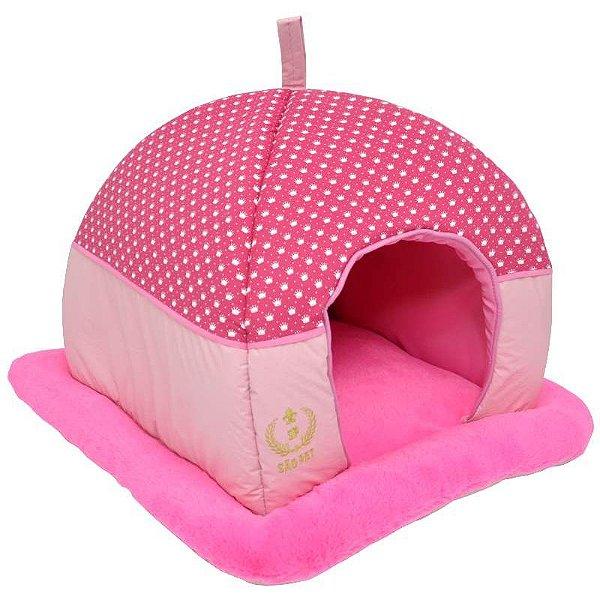 Cama Para Cachorro São Pet Tenda Luxo Rosa