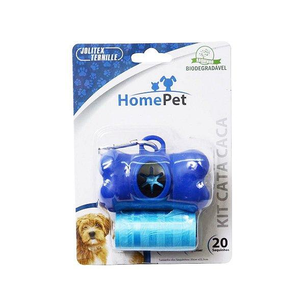 Kit Porta Saquinhos Coletores Dois Rolos Home Pet Azul