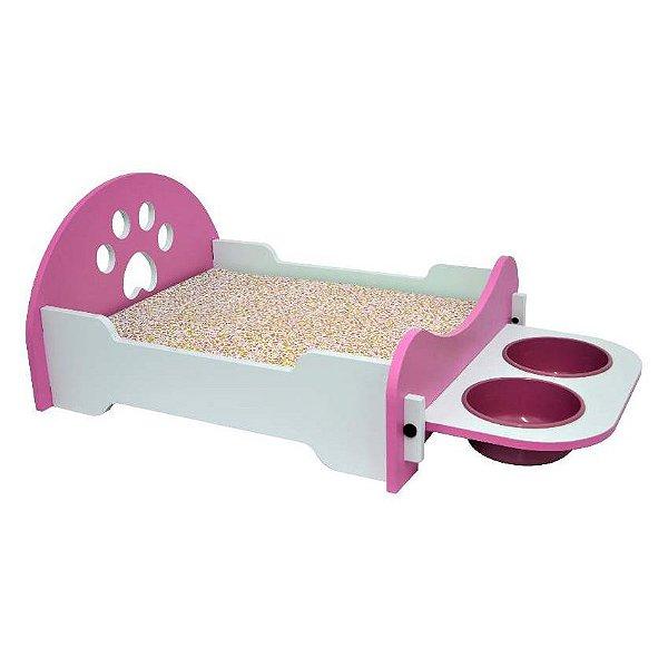 Cama Para Cachorro São Pet Com Comedouro Rosa
