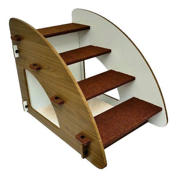Escada Para Cachorro e Gatos São Pet Madeira 4 Degraus