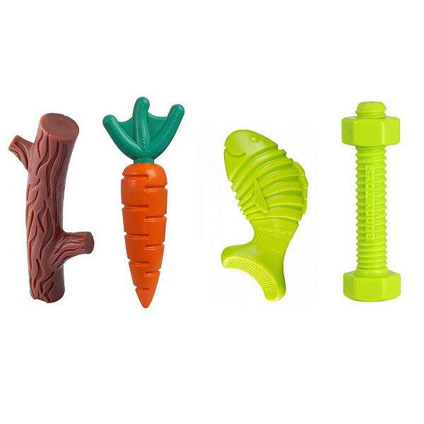 Kit Brinquedo Buddy Toys Graveto, Cenoura, Peixe e Parafuso Nylon