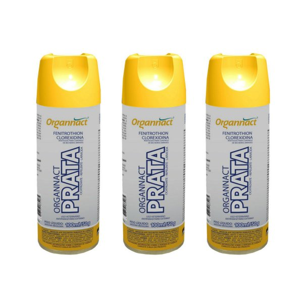 Organnact Prata Spray Antibacteriano 200ml Kit 3