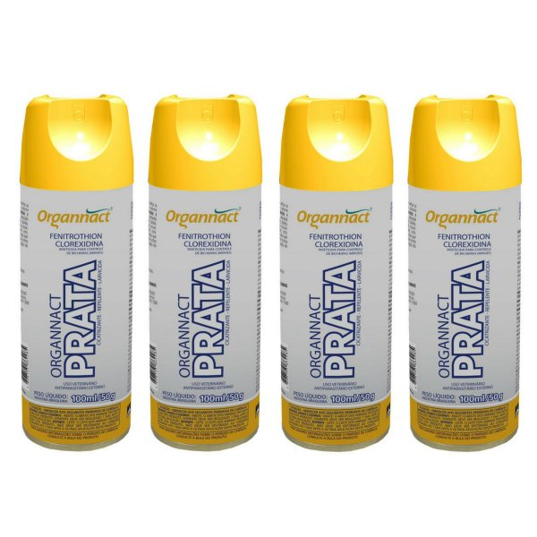 Organnact Prata Spray Antibacteriano 200ml Kit 4
