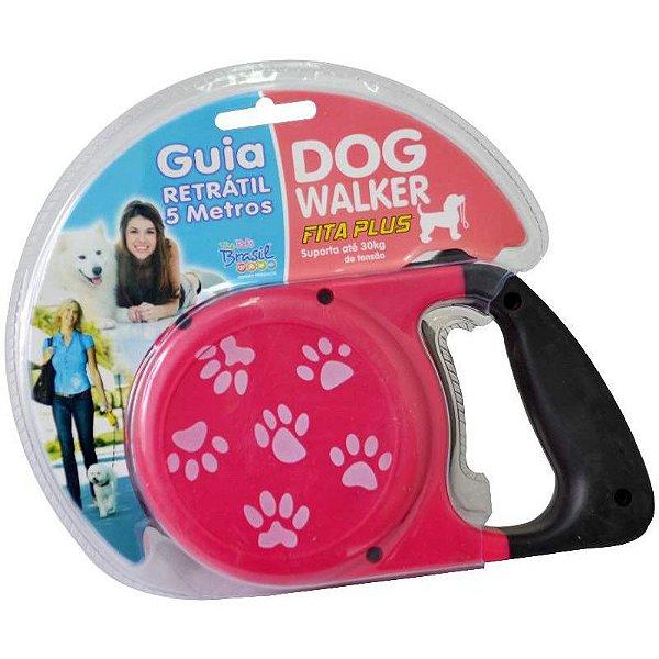 Guia Retrátil Para Cachorros Dog Walker Rosa