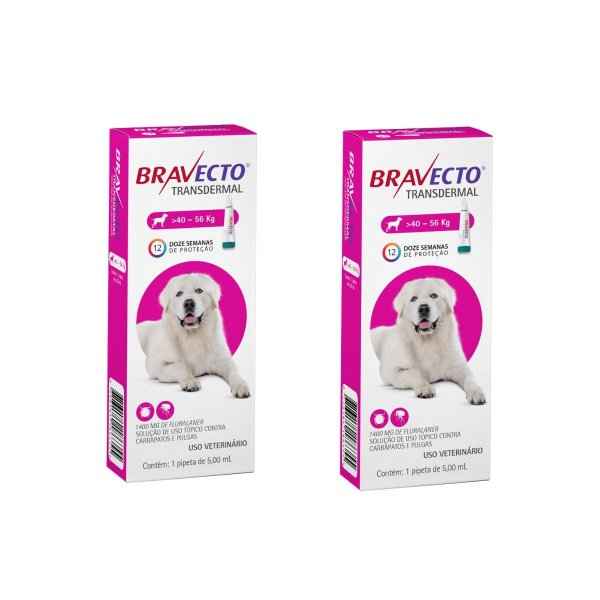 Combo 2 Antipulgas Bravecto 40 a 56kg Transdermal Cães