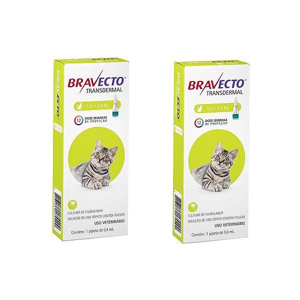 Combo 2 Antipulgas Bravecto 1,2 a 2,8kg Transdermal Gatos