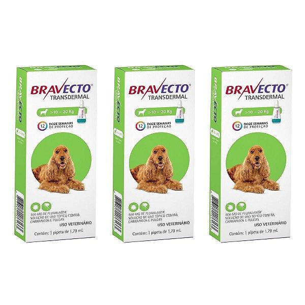 Combo 3 Antipulgas Bravecto 10 a 20kg Transdermal Cães
