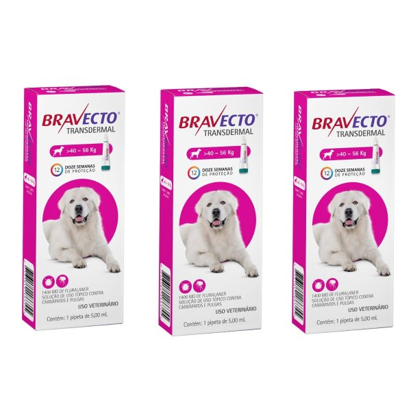 Combo 3 Antipulgas Bravecto 40 a 56kg Transdermal Cães