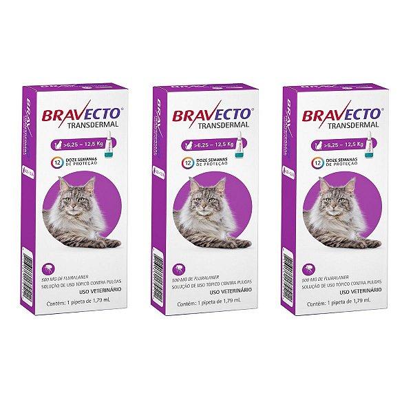 Combo 3 Antipulgas Bravecto 6,25 a 12,5kg Transdermal Gatos