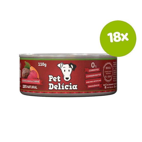 Ração Pet Delícia Caçarolinha de Carne 110g 18 unds