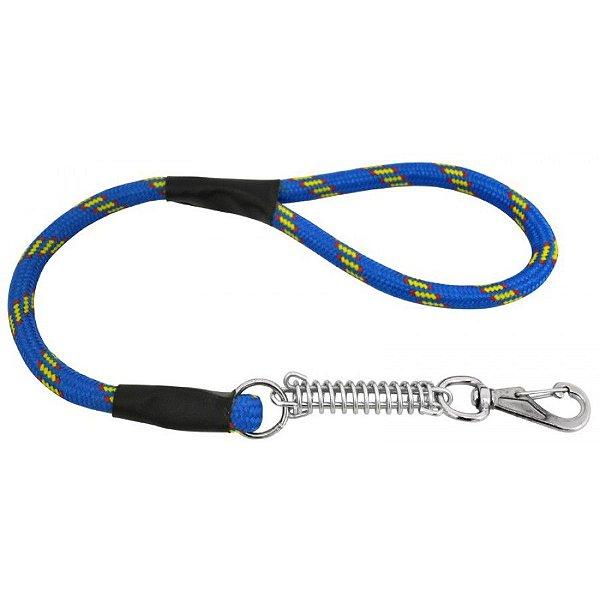 Guia Para Cachorros que Puxam Muito Alça de Corda e Mola Azul