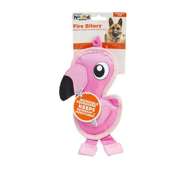 Brinquedo Cachorro Ultrarresistente Invincibles Fire Biterz Flamingo Mini