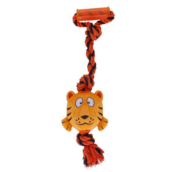 Brinquedo Cachorro Pelúcia Com Corda Tuggerz Tigre