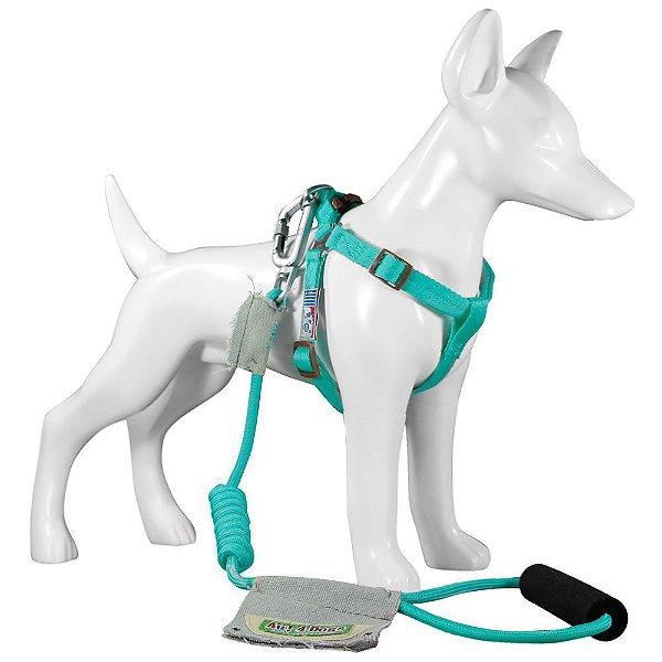 Peitoral e Guia Para Cachorro Au Light Blue