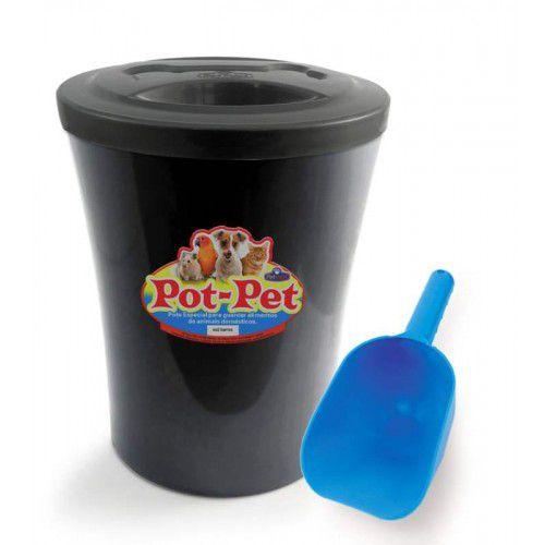 Porta Ração Contêiner Com Concha Preto Pot Pet 5 kg