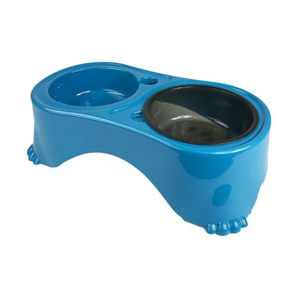 Comedouro e Bebedouro Cachorro Duplo Postura Correta Azul