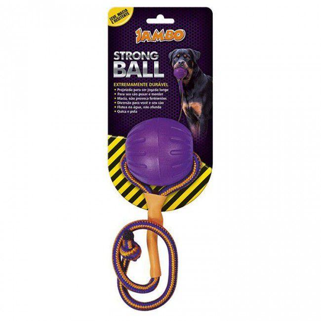 Brinquedo Cachorro Bola com Corda Strong Pq Roxa