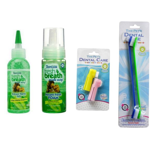Gel Dental 118ml + Spray Tropiclean + Dedeira + Escova Dupla Cães