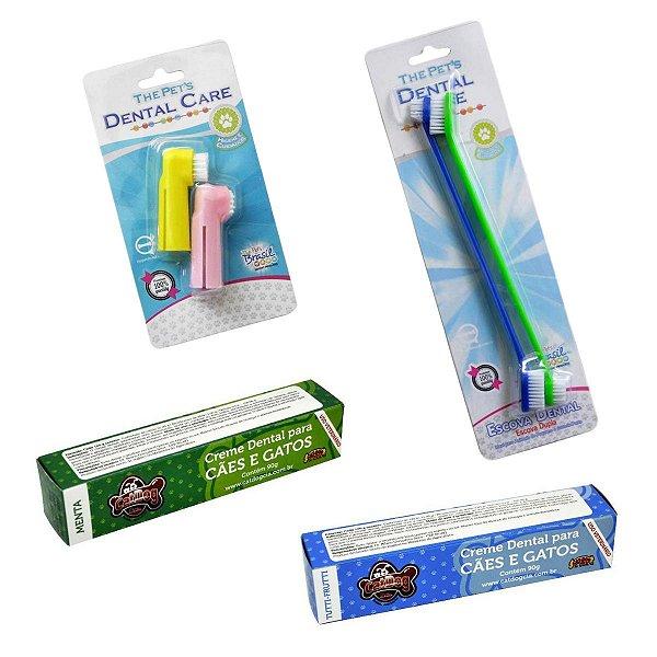 Kit Higiene Bucal Cachorro Dedeira + Escova Dupla + Pasta de Dente