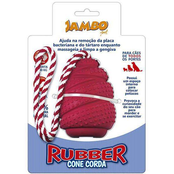 Brinquedo Para Cachorro Rubber Cone Com Corda Médio Vermelho Jambo
