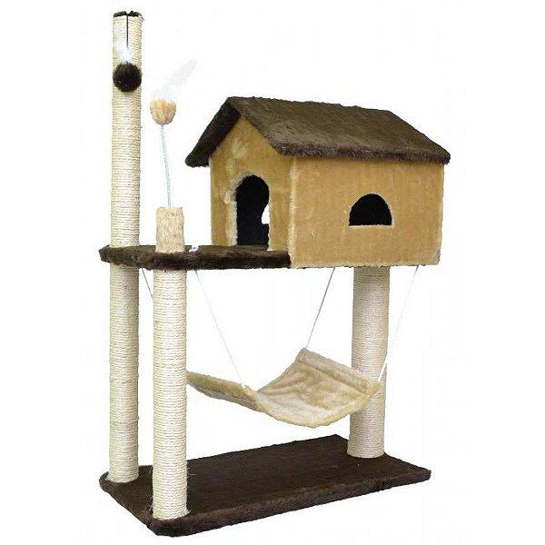 Arranhador Gatos House São Pet Bege 70x35x104cm