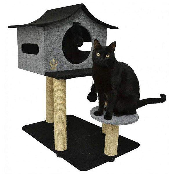 Arranhador Para Gatos Casa de Cuco São Pet Cinza 78x60x85cm