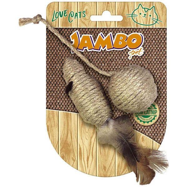 Brinquedo Para Gato Palha Rato com Bola Natural Jambo