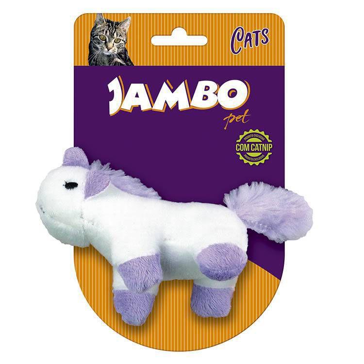 Brinquedo Para Gato Pelúcia Unicórnio Branco e Lilás Jambo