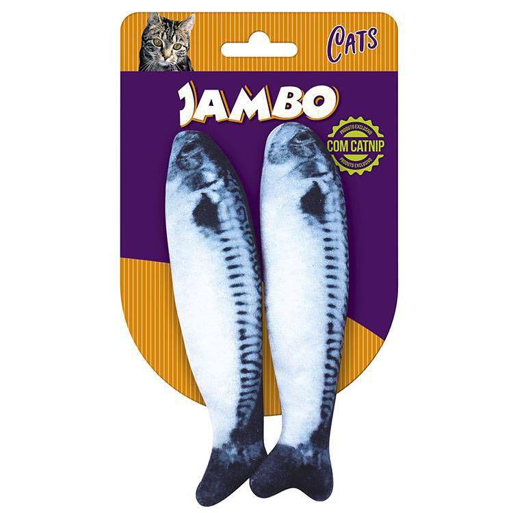 Brinquedo Gato Peixe Fish Sardines com 2 Jambo