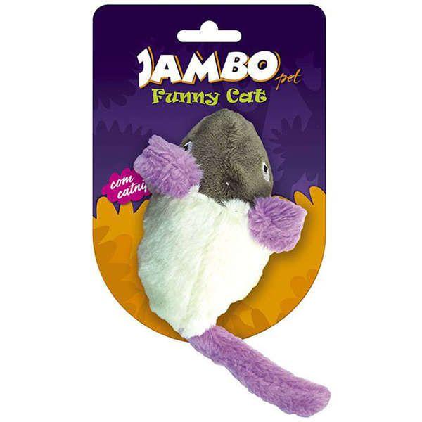 Brinquedo Para Gato Pelúcia Ratinho Funny Branco Jambo