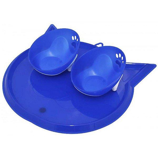 Kit Comedouro Duplo Para Gatos Com Bandeja Truqys Pet Azul