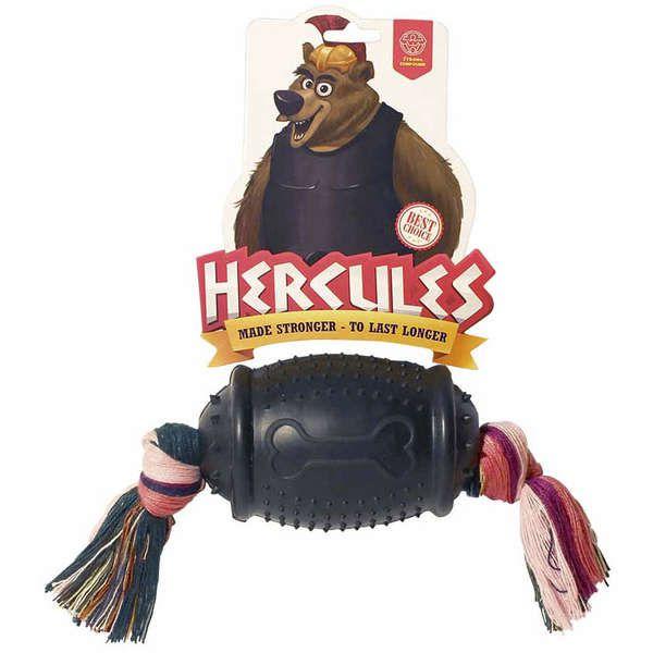 Brinquedo Para Cachorro Bola Hercules Rugby com Corda Preto