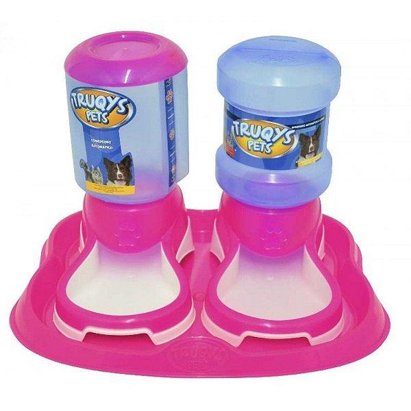 Bebedouro e Comedouro Automático Truqys Pet Rosa 2L