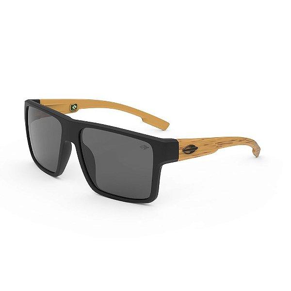 Oculos de Sol Mormaii Macau Preto Fosco Madeira Cinza