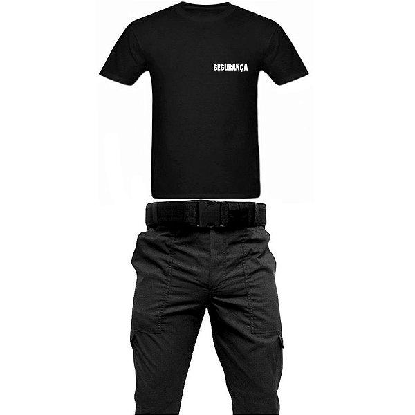 kit - Calça Tática Preta em RipStop + Camiseta Preta Escrito SEGURANÇA Br + Cinto