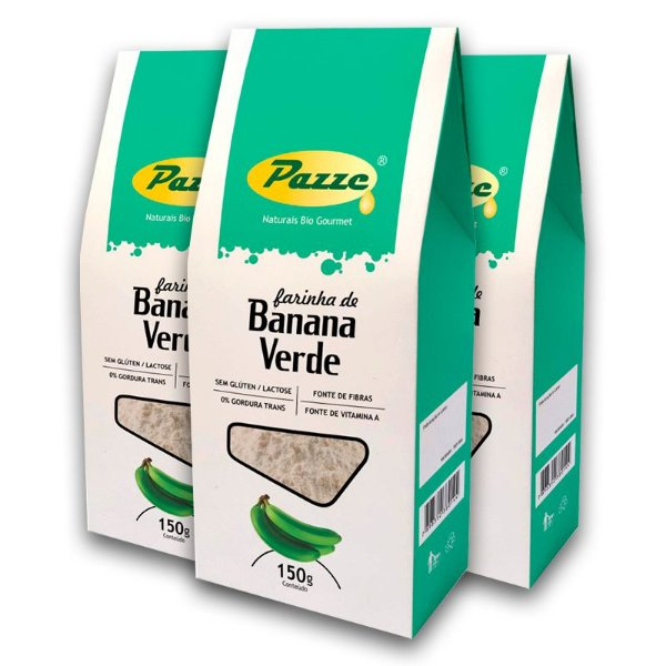 Kit 3 Farinha Banana Verde Pazze 150 gramas